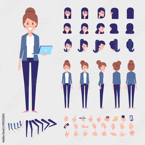 Flat Vector Woman character for your scenes Character creation set