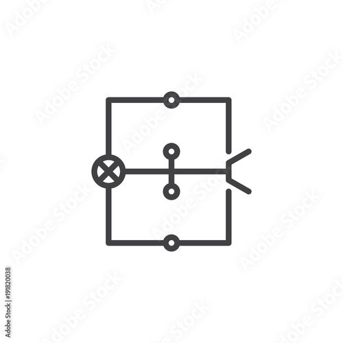 Wiring diagram line icon, outline vector sign, linear style