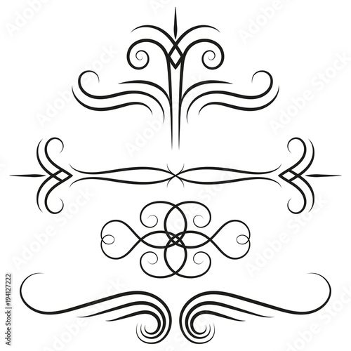 Decorative calligraphic elements for page decor Vintage swirly