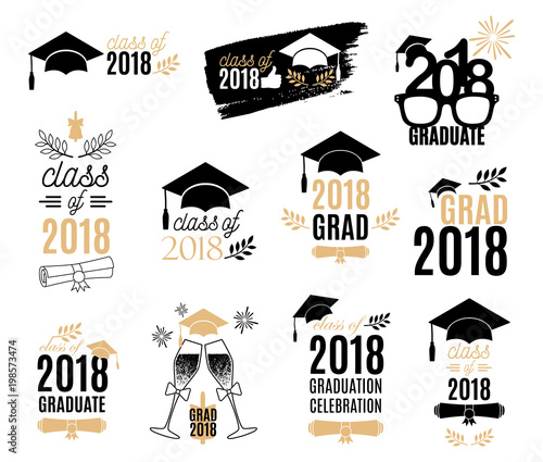 Graduation class of 2018 labels design set Badges kit for shirt