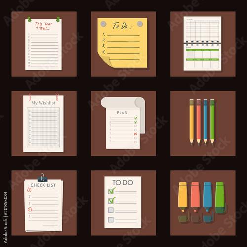 Agenda list vector business paper clipboard in flat style self
