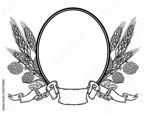 Oval frame with hand drawn hop and wheat Beer label template Buy - wheat template