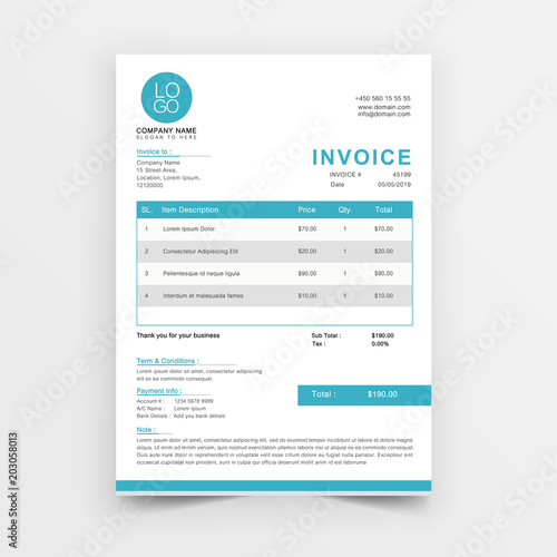 Invoice template vector design Blue minimal quotation design Buy