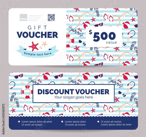 Set of summer gift vouchers for kids and baby goods  Gift