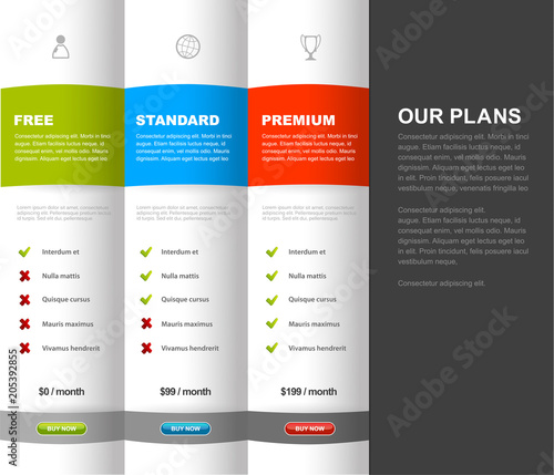 Website product pricing comparison table template with 3 options