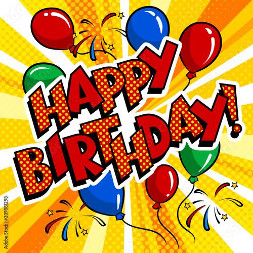 Happy birthday word comic book pop art vector Buy Photos AP