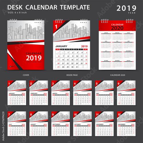 Desk calendar 2019 template Set of 12 Months Planner Week starts