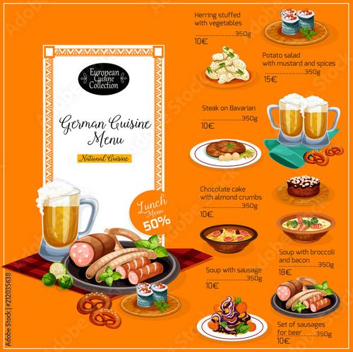 German cuisine restaurant lunch menu template Buy Photos AP
