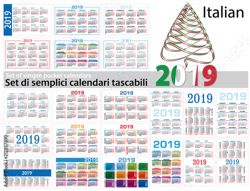 Set of simple calendars in Italian on 2019 (Two thousand nineteen
