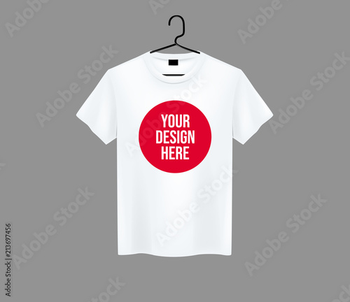 Men white T-shirt Realistic mockup with brand text for advertising