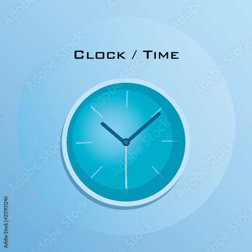 basic clock icon over blue background, colorful design vector