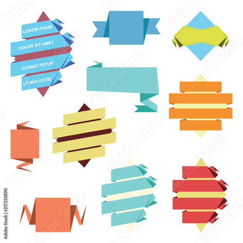 Flat Origami Paper Ribbon Banner Template Set Buy Photos AP