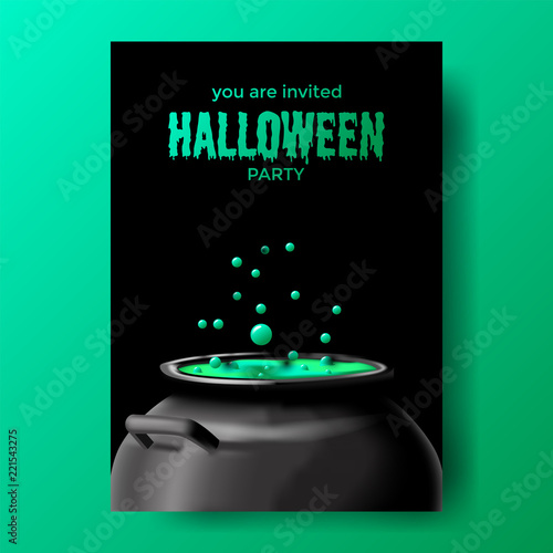 halloween party with potion alchemist on the pot invitation template
