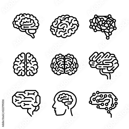 Brain icon set Outline set of brain vector icons for web design