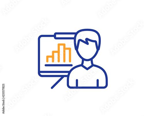 Presentation board line icon Column graph sign Growth diagram
