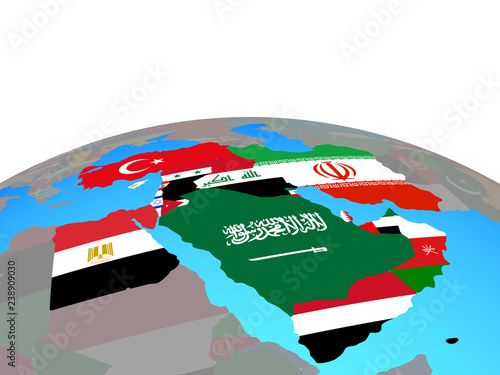 Middle East with national flags on political globe Buy Photos
