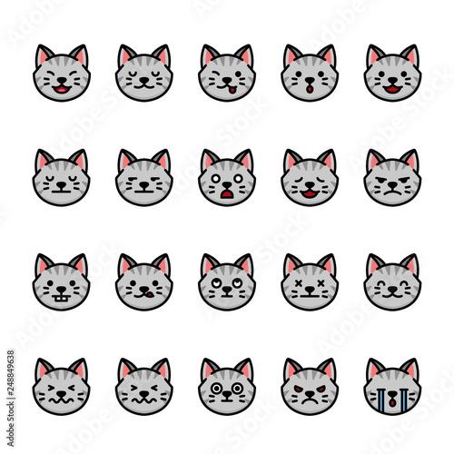 Color line icon set of Cat Emoji Emoticon Expression Buy Photos