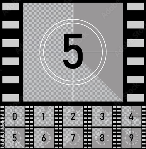 Set retro film movie Countdown frames timer universal counter with