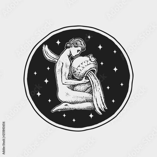 Aquarius Zodiac icon Astrology horoscope with sign Calendar