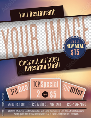 Vector flyer template design for Restaurant Coupon Buy Photos AP