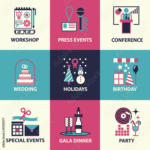 hin line and flat icons of events and special occasions organization