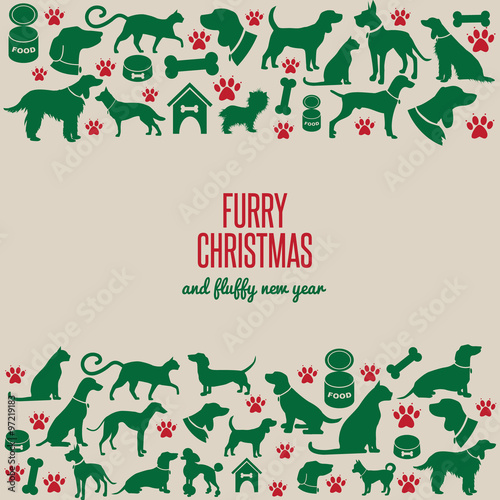 Furry Christmas and fluffy new year border greeting card design EPS