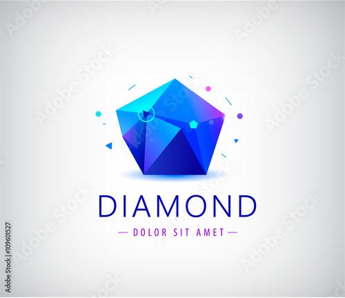 trendy flat design facet crystal gem shape logo element Buy