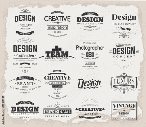 Retro Creative Vintage labels template and Logo set Vector design