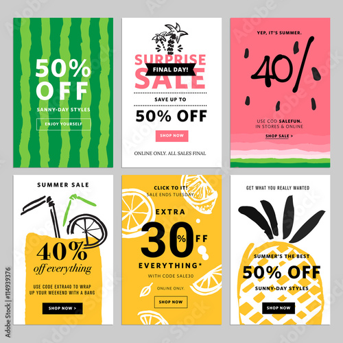 Hand drawn design promotional banner templates Vector illustrations