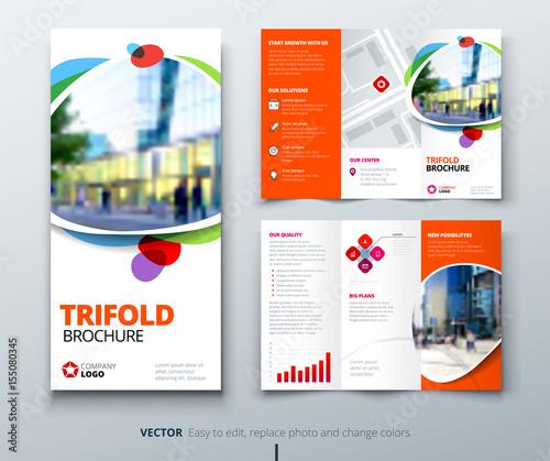 Business tri fold brochure design Orange fun template for tri fold