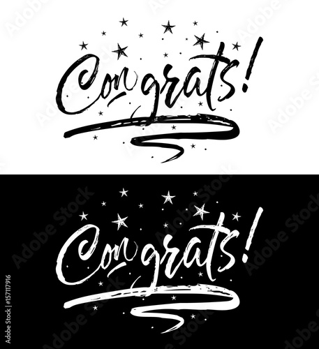 Congrats banner Beautiful greeting scratched calligraphy black text