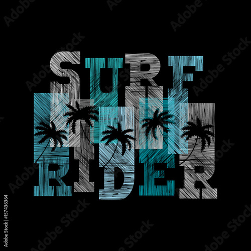 Surf rider typography posters Concept in vintage style for print
