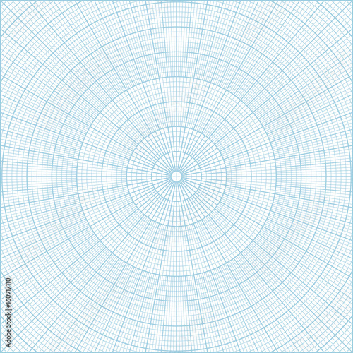 Blue polar coordinate circular grid graph paper, graduated every 1