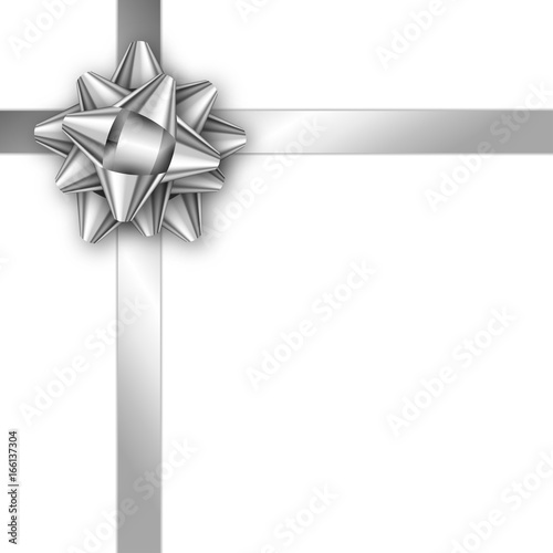 Holiday gift card with silver ribbon and bow Template for a