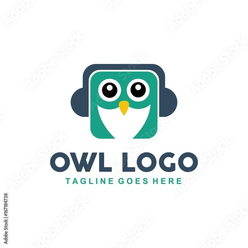 Unique owl logo with minimalist shapes and colors Buy Photos AP