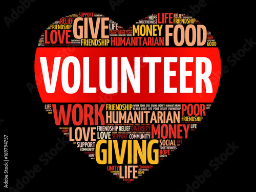 Volunteer word cloud collage, social concept background Buy Photos