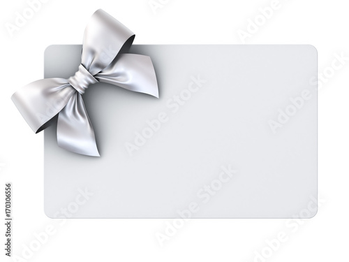 Blank gift card with silver ribbon bow isolated on white background