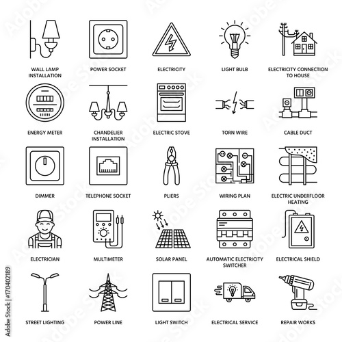Electricity engineering vector flat line icons Electrical equipment