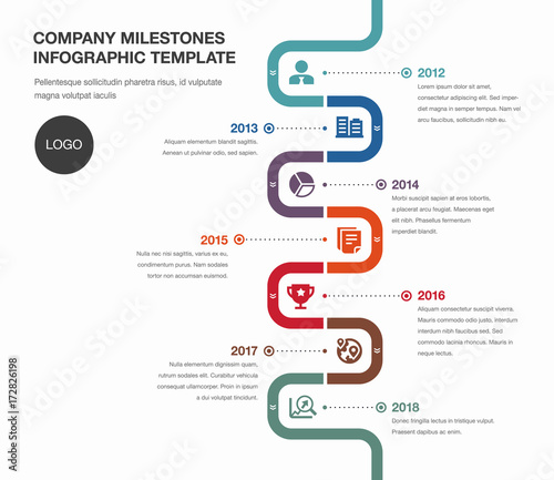 Vector Infographic Company Milestones Timeline Template Buy