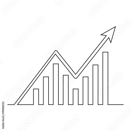 Continuous line drawing of graph icon isolated on white background