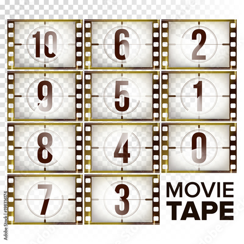 Film Countdown Numbers 10 - 0 Vector Monochrome Brown Grunge Film