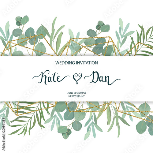 Floral greenery card template with eucalyptus branch For wedding