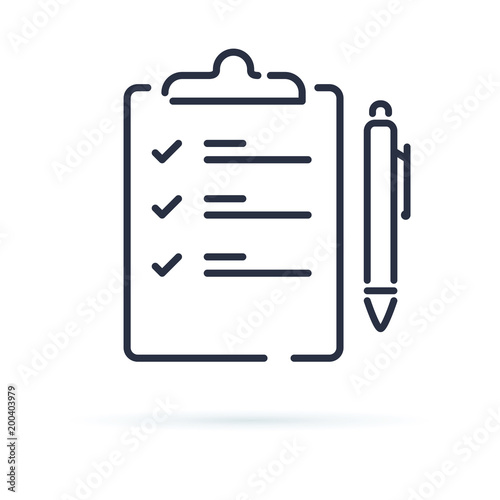Quiz vector icon isolated on white background Contract with a pen