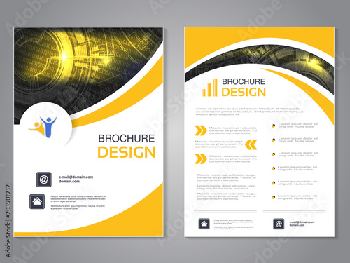 Vector modern brochure with wave design, abstract flyer with