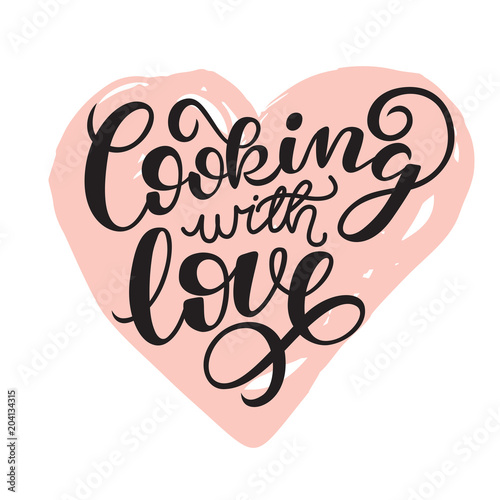 Cooking with love handwritten card Printable quote template