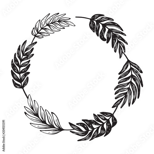 Hand drawn wreath Vector vintage round frame for cards, quotes