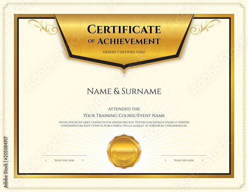 Luxury certificate template with elegant border frame, Diploma - certificate of rank template