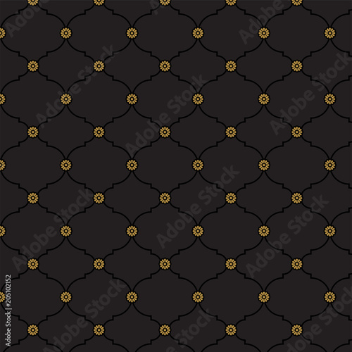 Black and gold fancy background pattern Classy texture in vector