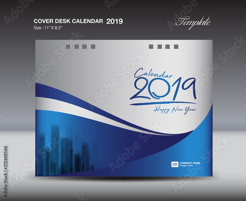 Blue Cover Desk Calendar 2019 Design template, flyer template, ads