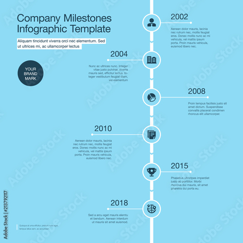 Infographic for company milestones timeline template with circles